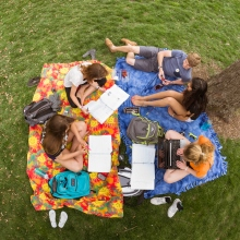 Birds eye view of students on the campus Quad