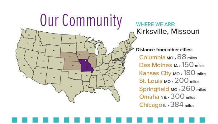 Our Community - Map of United State showing where Truman is located