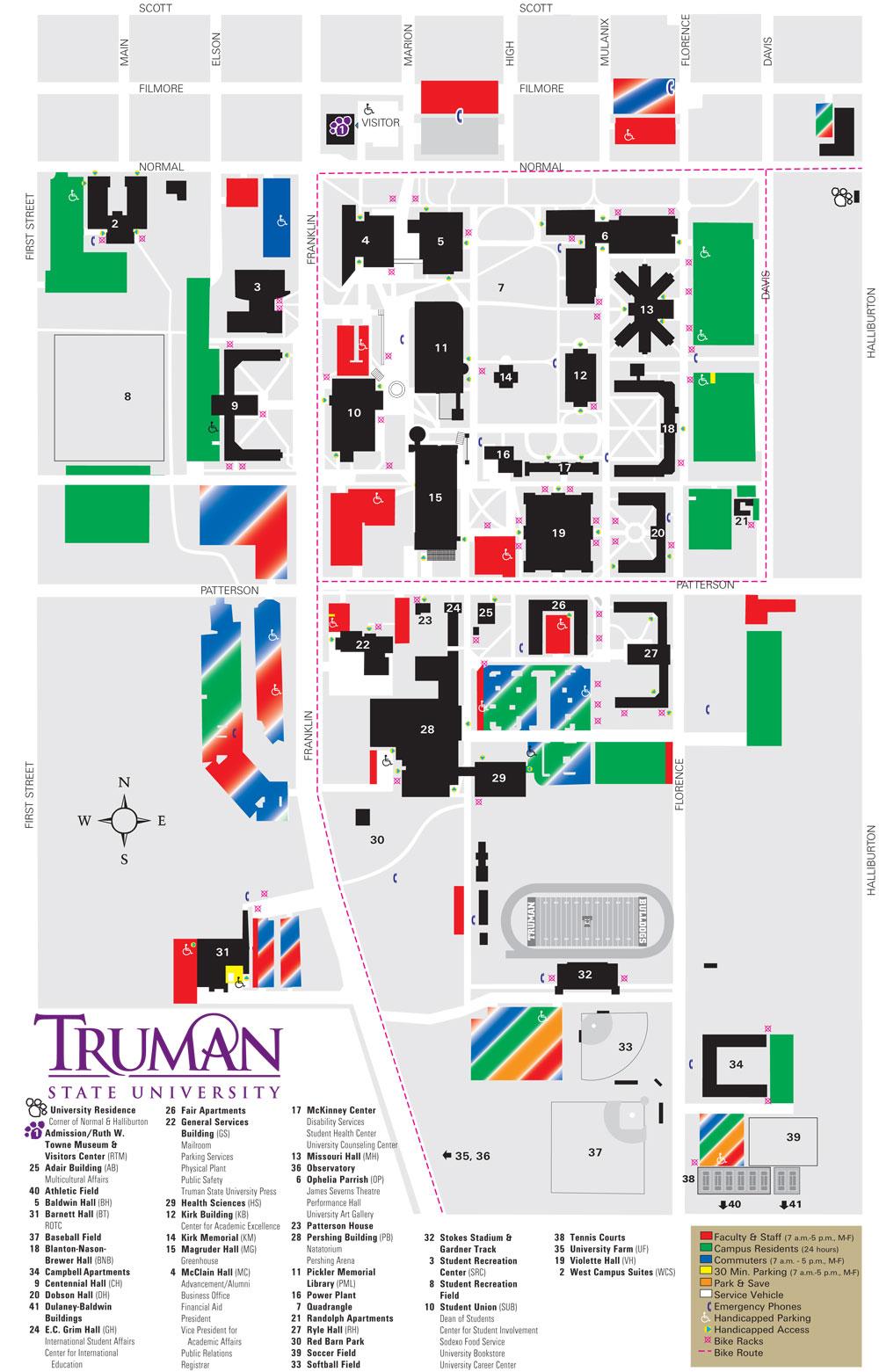 Truman State University Parking Map