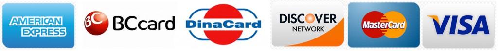 American Express, BCcard, DinaCard, Discover, MasterCard, Visa